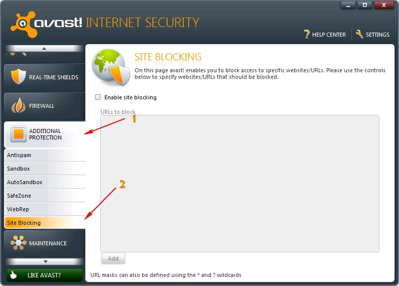 Avast Site Blocker