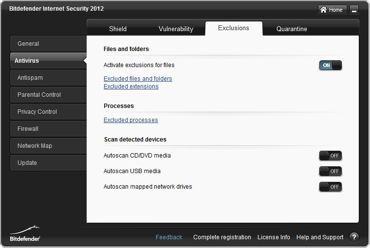 Bitdefender Antivirus exclude configuration