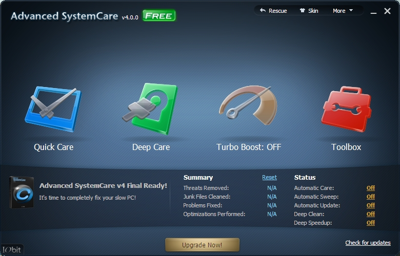 Iobit Advanced system care main interface
